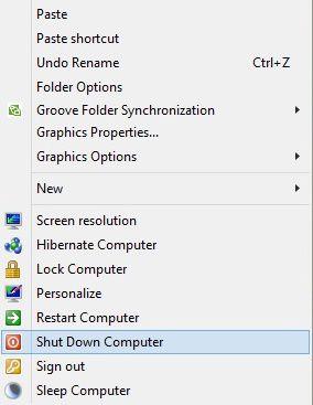 Thêm Shutdown, Restart vào menu chuột phải trong Windows 7, 8, 8.1