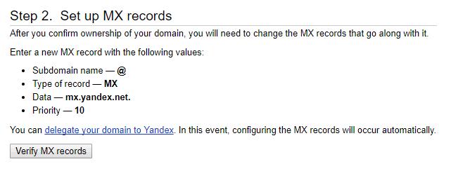 Tạo mail tên miền riêng với Yandex miễn phí